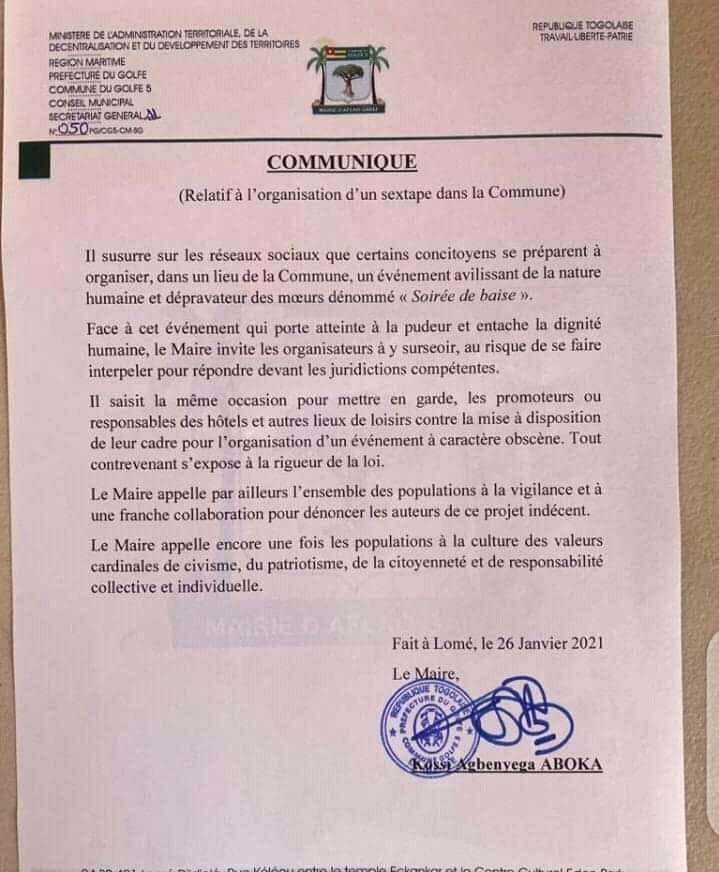 Soirée 100% Baise Au Togo : La Réaction Du Maire Aboka