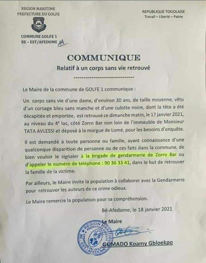 Togo/ Femme Décapitée : La Réaction Du Maire Gomado