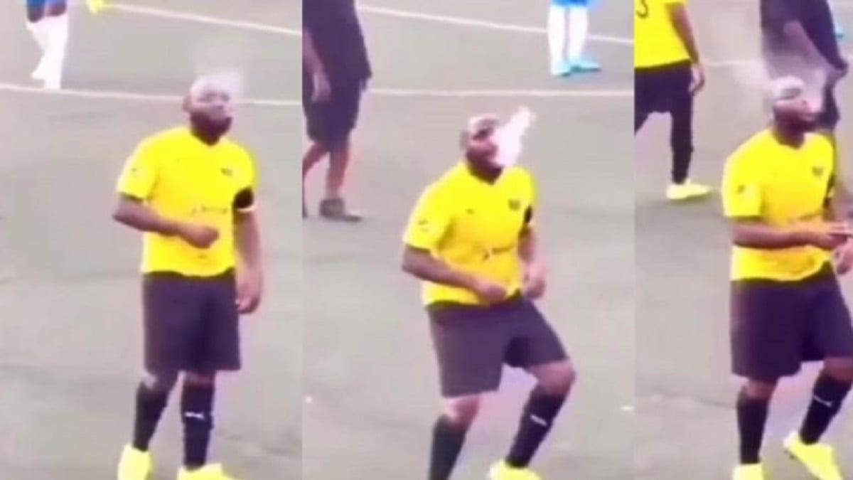 DAVIDO FUME SUR UN TERRAIN EN JOUANT AU FOOTBALL: VIDÉO