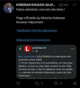 « Toi, Ta Sorcellerie, On N'Est Plus Dedans », Le Ministre Adjoumani Tacle Gims