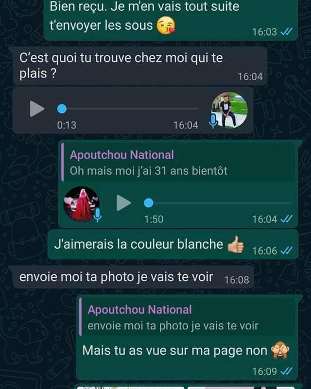 Voici La Conversation Complète Entre Apoutchou National Et Claire K ( Photos)
