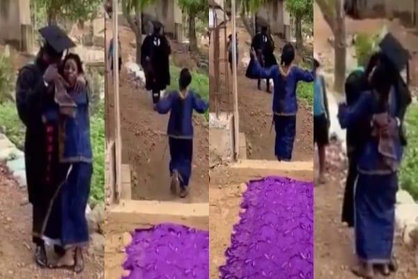 Pauvre et incapable d'offrir un cadeau de fin d'études à son fils, elle déroule son vêtement comme tapis rouge pour lui (vidéo)